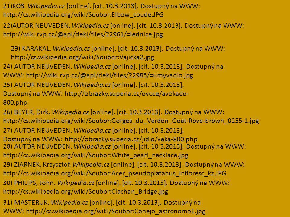 21)KOS. Wikipedia.cz [online]. [cit. 10.3.2013]. Dostupný na WWW: http://cs.wikipedia.org/wiki/Soubor:Elbow_coude.JPG 22)AUTOR NEUVEDEN. Wikipedia.cz