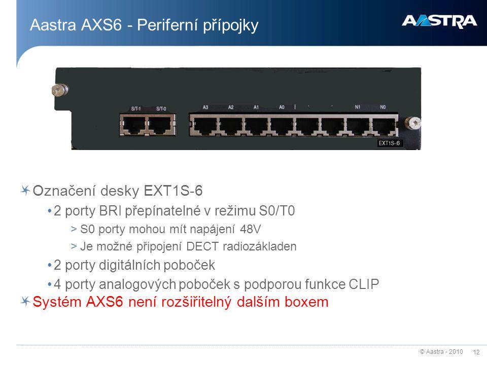 © Aastra - 2010 12 Aastra AXS6 - Periferní přípojky Označení desky EXT1S-6 2 porty BRI přepínatelné v režimu S0/T0 >S0 porty mohou mít napájení 48V >J