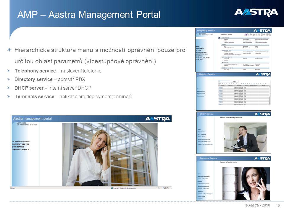 © Aastra - 2010 19 AMP – Aastra Management Portal Hierarchická struktura menu s možností oprávnění pouze pro určitou oblast parametrů (vícestupňové op