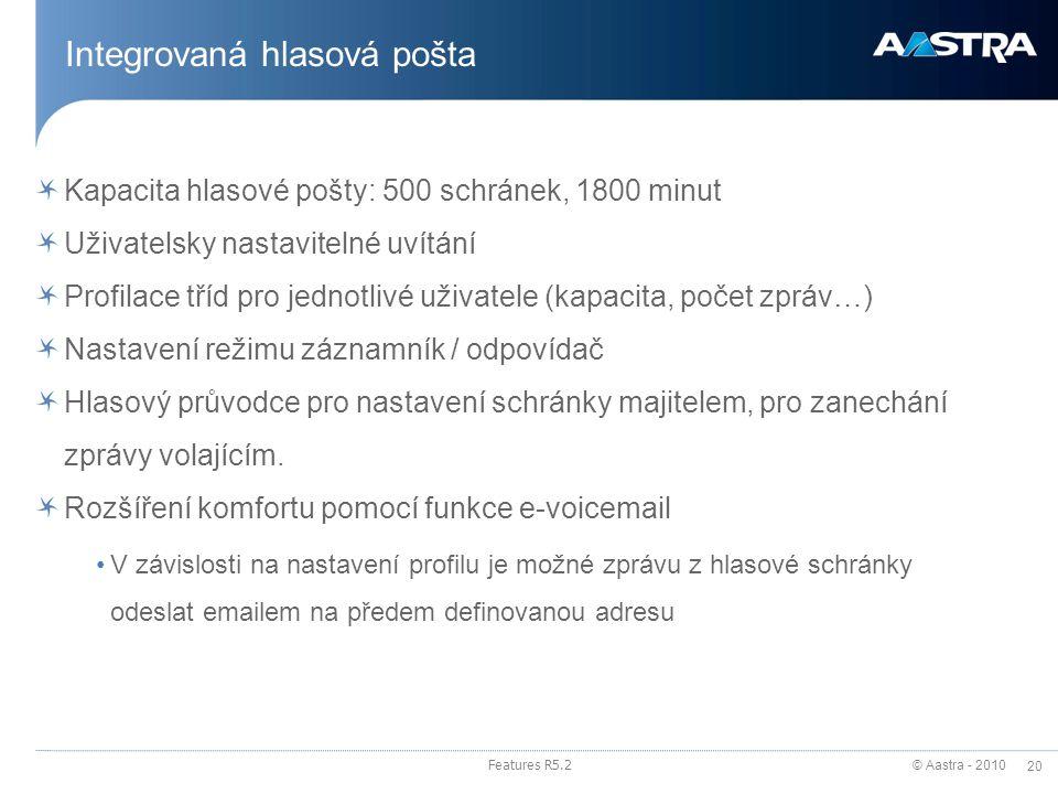 © Aastra - 2010 20 Features R5.2 Integrovaná hlasová pošta Kapacita hlasové pošty: 500 schránek, 1800 minut Uživatelsky nastavitelné uvítání Profilace