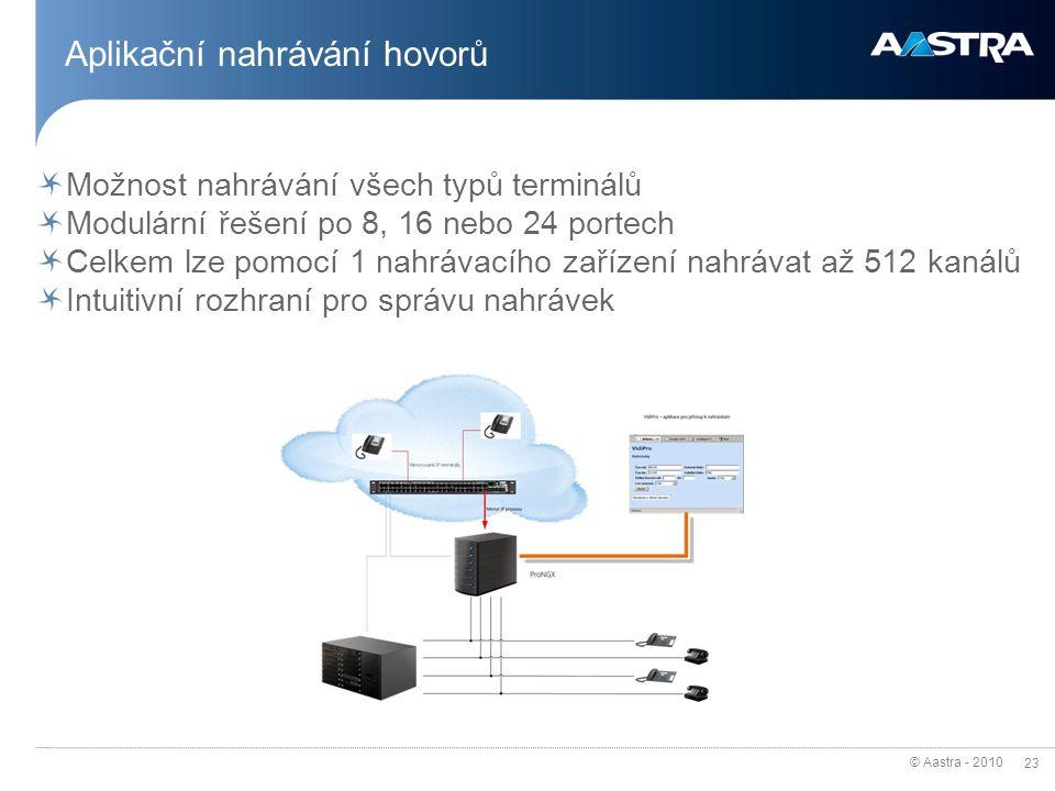 © Aastra - 2010 23 Aplikační nahrávání hovorů Možnost nahrávání všech typů terminálů Modulární řešení po 8, 16 nebo 24 portech Celkem lze pomocí 1 nah