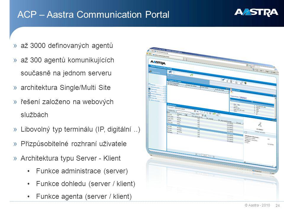 © Aastra - 2010 24 » až 3000 definovaných agentů » až 300 agentů komunikujících současně na jednom serveru » architektura Single/Multi Site » řešení z