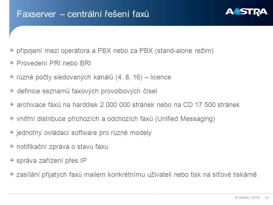 © Aastra - 2010 31 Faxserver – centrální řešení faxů připojení mezi operátora a PBX nebo za PBX (stand-alone režim) Provedení PRI nebo BRI různé počty
