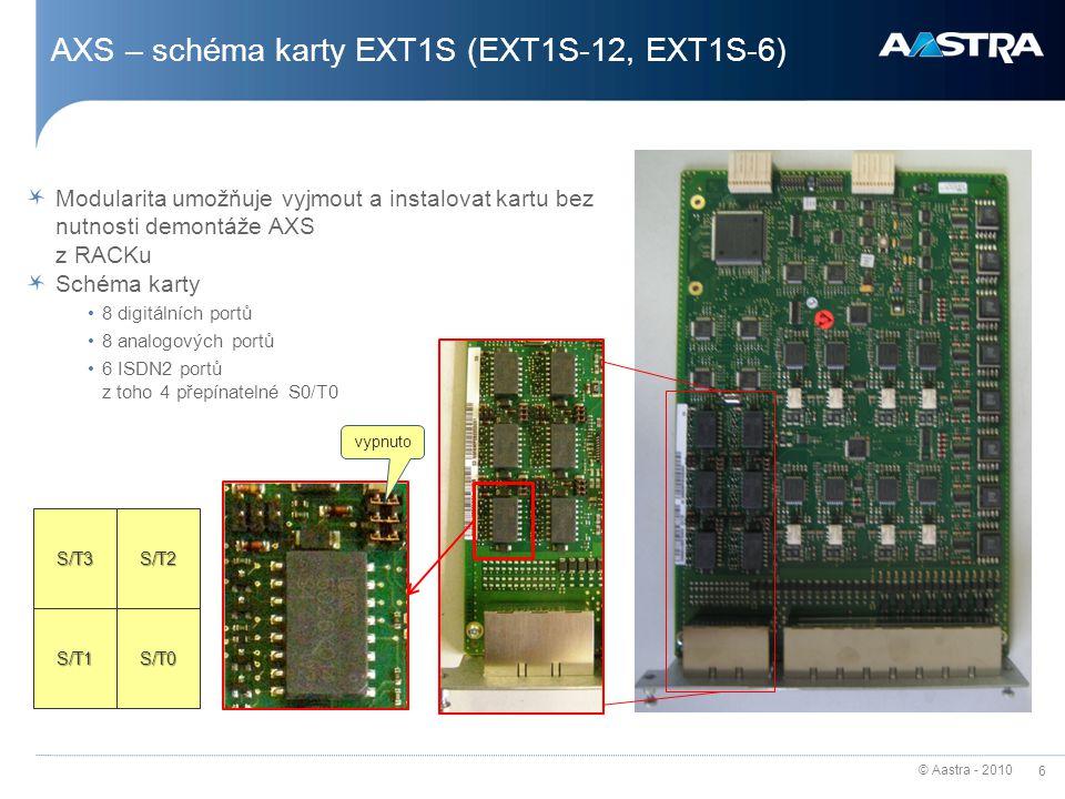 © Aastra - 2010 6 AXS – schéma karty EXT1S (EXT1S-12, EXT1S-6) Modularita umožňuje vyjmout a instalovat kartu bez nutnosti demontáže AXS z RACKu Schém