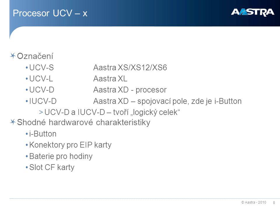 © Aastra - 2010 8 Procesor UCV – x Označení UCV-SAastra XS/XS12/XS6 UCV-LAastra XL UCV-DAastra XD - procesor IUCV-DAastra XD – spojovací pole, zde je