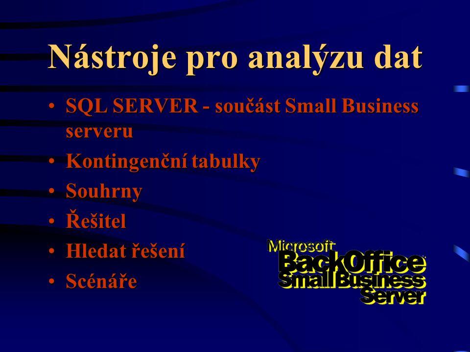 Nástroje pro analýzu dat SQL SERVER - součást Small Business serveruSQL SERVER - součást Small Business serveru Kontingenční tabulkyKontingenční tabulky SouhrnySouhrny ŘešitelŘešitel Hledat řešeníHledat řešení ScénářeScénáře