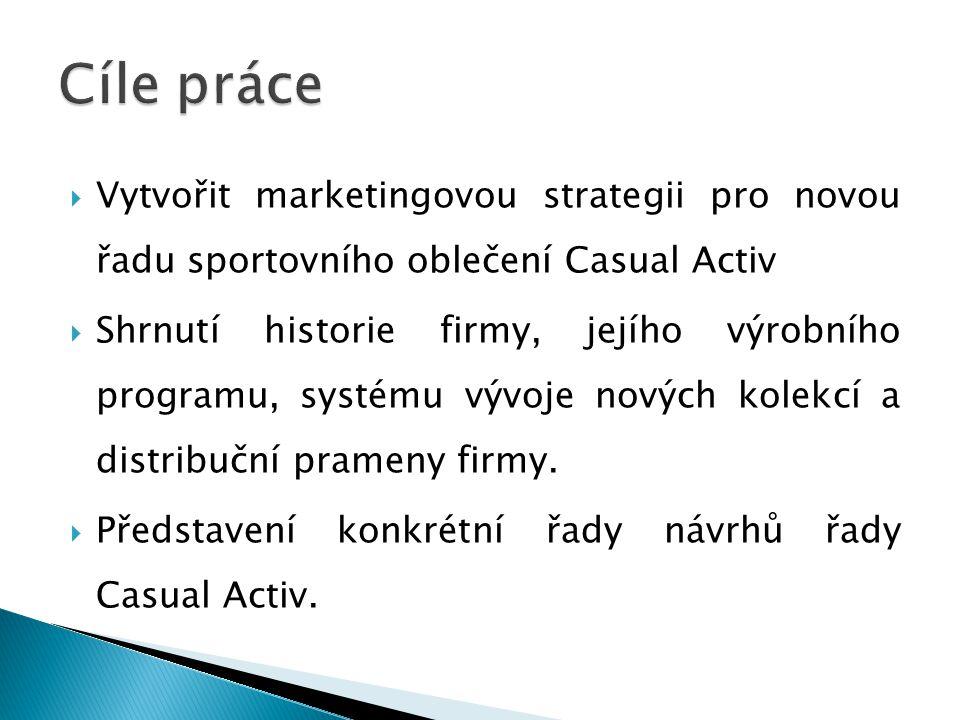  Vytvořit marketingovou strategii pro novou řadu sportovního oblečení Casual Activ  Shrnutí historie firmy, jejího výrobního programu, systému vývoje nových kolekcí a distribuční prameny firmy.