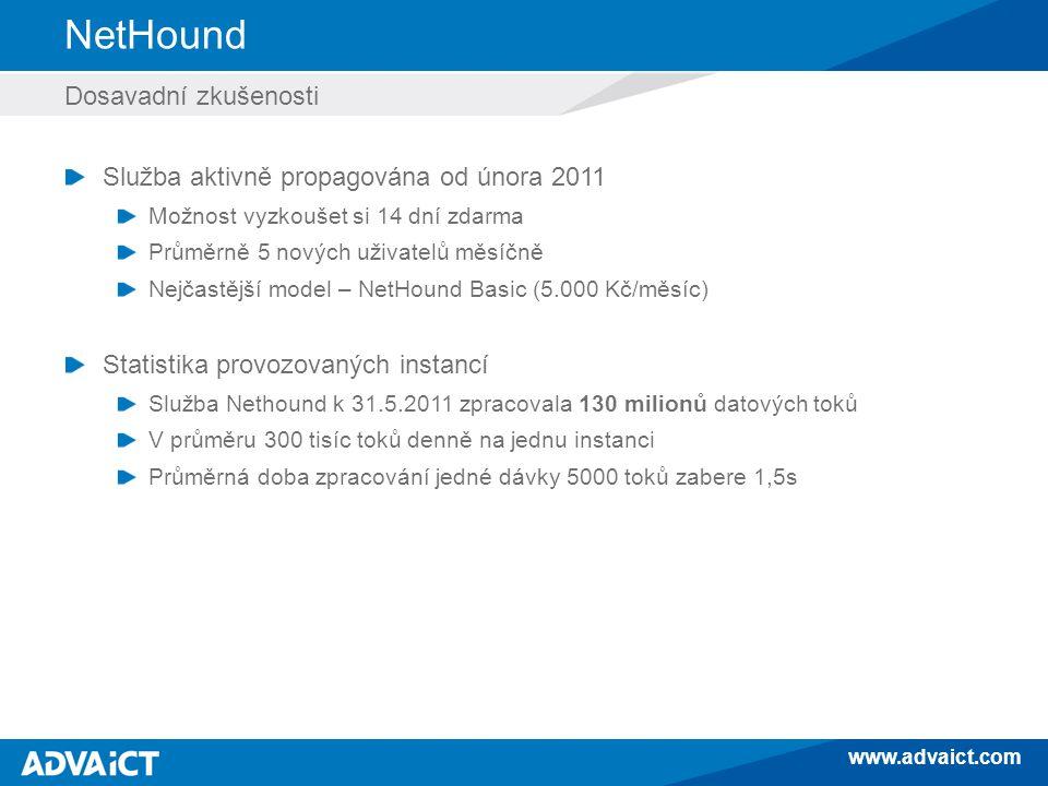 www.advaict.com NetHound Dosavadní zkušenosti Služba aktivně propagována od února 2011 Možnost vyzkoušet si 14 dní zdarma Průměrně 5 nových uživatelů měsíčně Nejčastější model – NetHound Basic (5.000 Kč/měsíc) Statistika provozovaných instancí Služba Nethound k 31.5.2011 zpracovala 130 milionů datových toků V průměru 300 tisíc toků denně na jednu instanci Průměrná doba zpracování jedné dávky 5000 toků zabere 1,5s