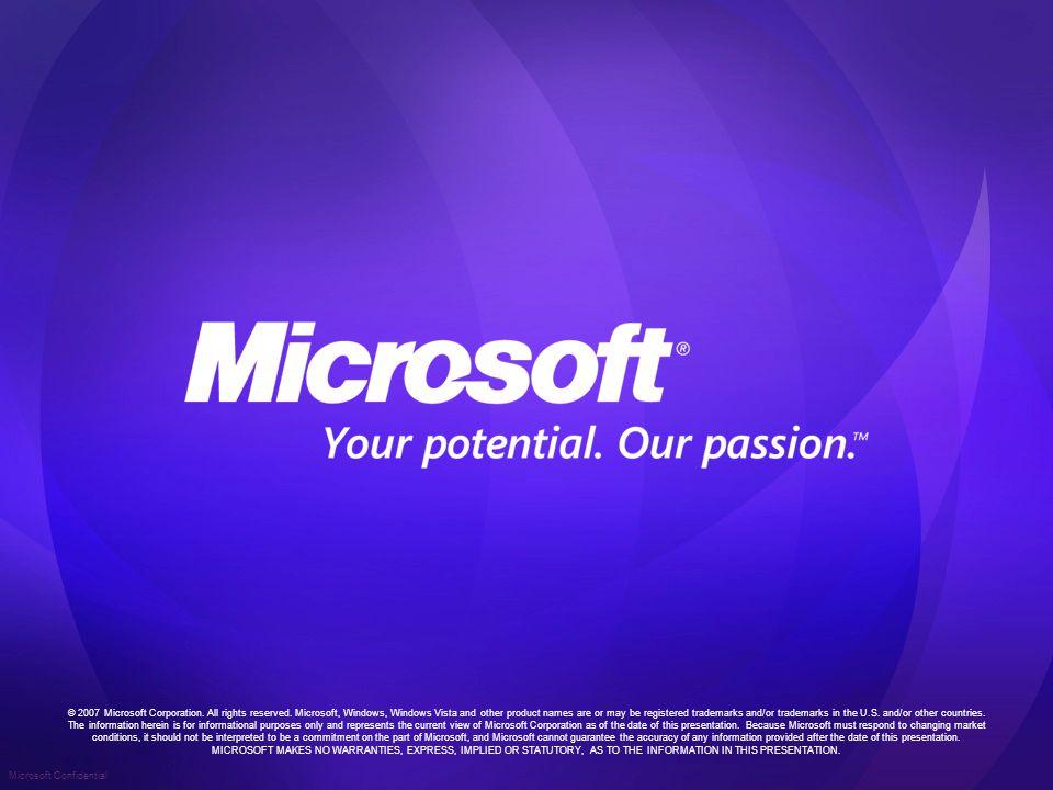 Microsoft Confidential © 2007 Microsoft Corporation.