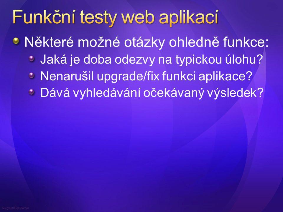 Microsoft Confidential Integrovány do Visual Studia Jednoduše – další typ testu Na základě nahrané posloupnosti stránek anebo pomocí kódu: Extrakce parametrů a validace výsledku Testuje HTTP protokol, nikoliv UI prohlížeče Nejen pro ASP.NET Pro jakoukoliv HTTP komunikaci Lze použít i pro webové služby Včetně AJAX aplikací Absolutní rozšiřitelnost