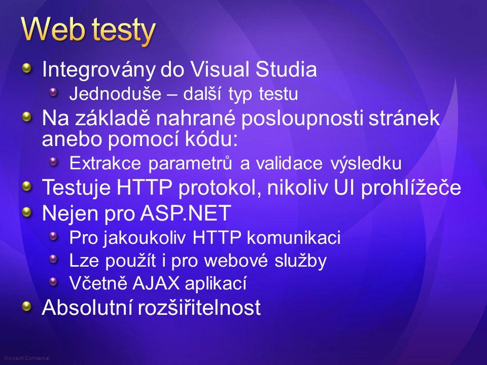 Microsoft Confidential Web Test je posloupnost URL s parametry Možnost nahrání z Internet Exploreru Editovatelný XML formát Variace parametrů (data-driven test) Extrakce parametrů pro následné použití Text, regulární výraz, hlavička, atribut, skryté pole, pole formuláře,...