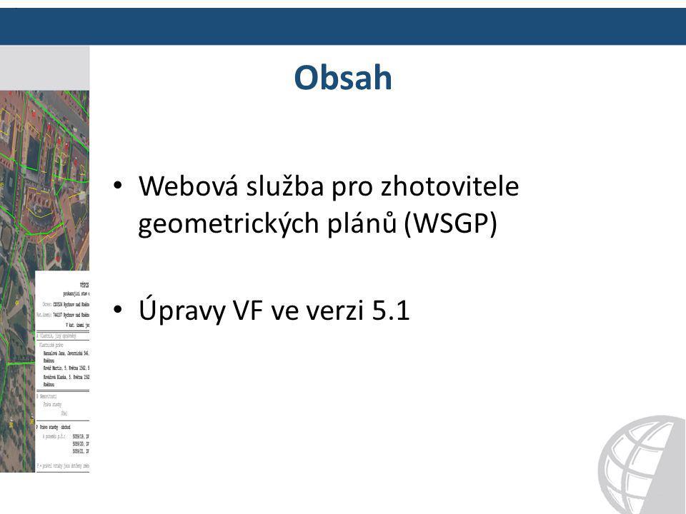 Obsah Webová služba pro zhotovitele geometrických plánů (WSGP) Úpravy VF ve verzi 5.1