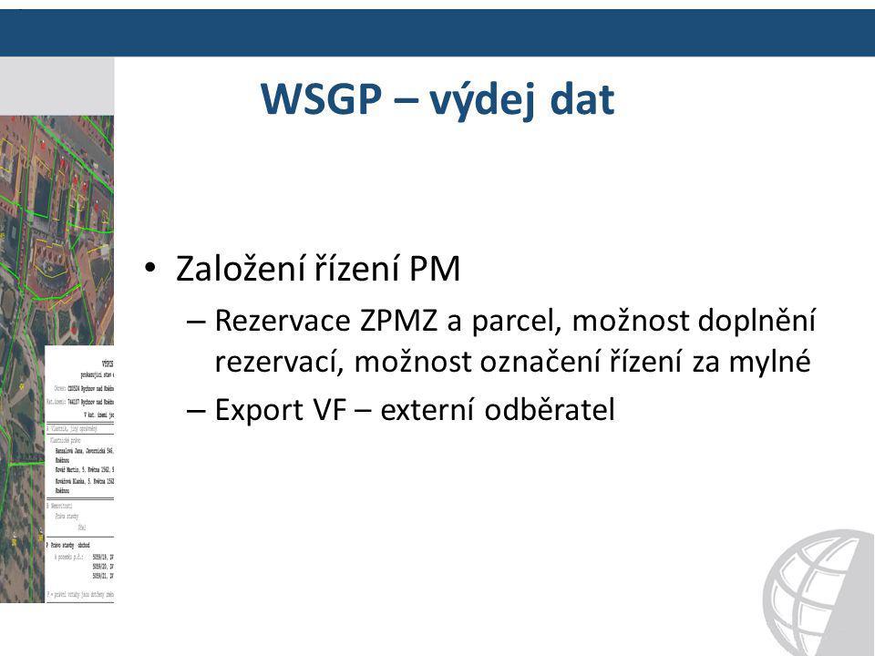 WSGP – výdej dat Založení řízení PM – Rezervace ZPMZ a parcel, možnost doplnění rezervací, možnost označení řízení za mylné – Export VF – externí odbě