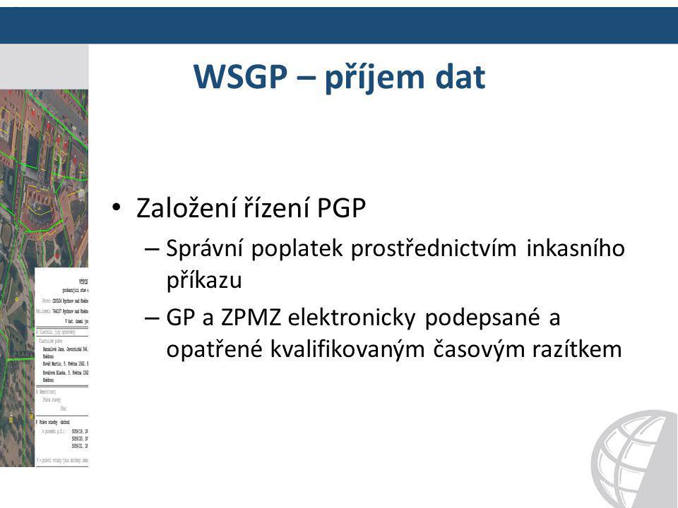 WSGP – příjem dat Založení řízení PGP – Správní poplatek prostřednictvím inkasního příkazu – GP a ZPMZ elektronicky podepsané a opatřené kvalifikovaný