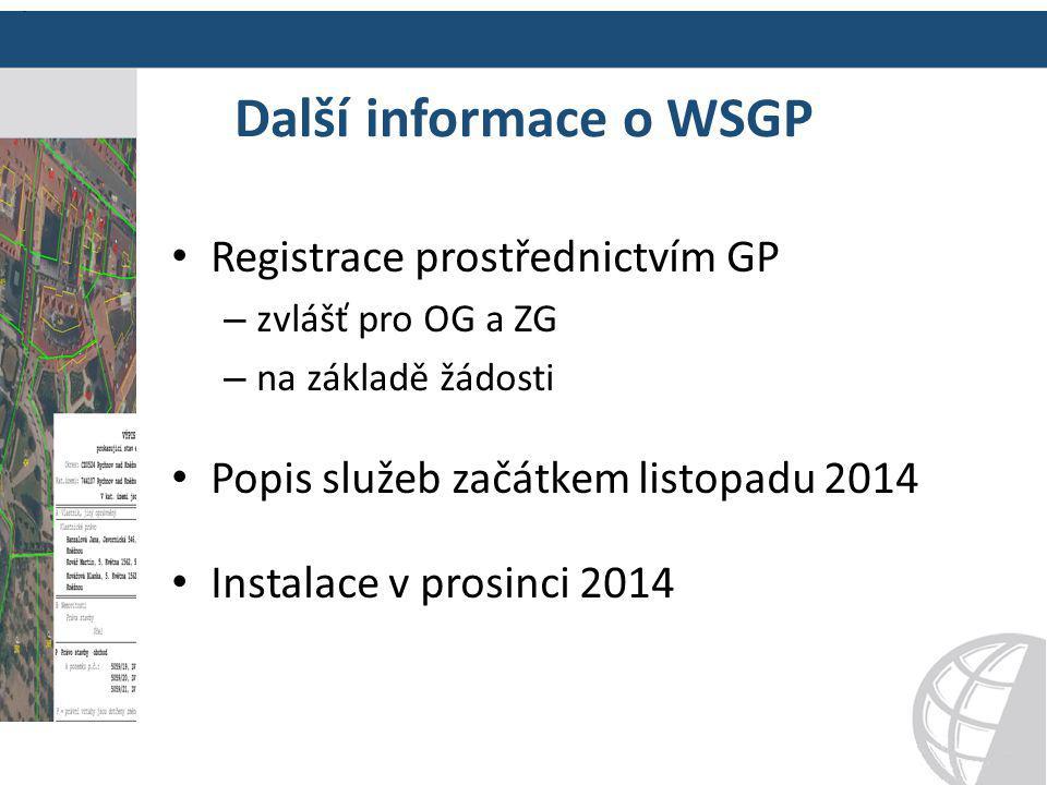 Další informace o WSGP Registrace prostřednictvím GP – zvlášť pro OG a ZG – na základě žádosti Popis služeb začátkem listopadu 2014 Instalace v prosin