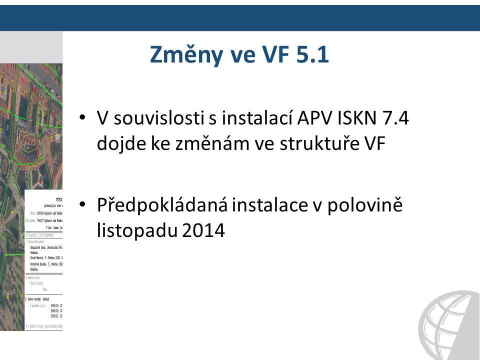 Změny ve VF 5.1 Doplnění datového bloku KATUZE CISLO N3;CISELNA_RADA N1 Doplnění sloupce PS_ID_K do datového bloku &BJPV Odlišení exportu z řízení PM &HPM;PM-428/2014-306 Doplnění obce a definičních bodů do exportu pro řízení PM