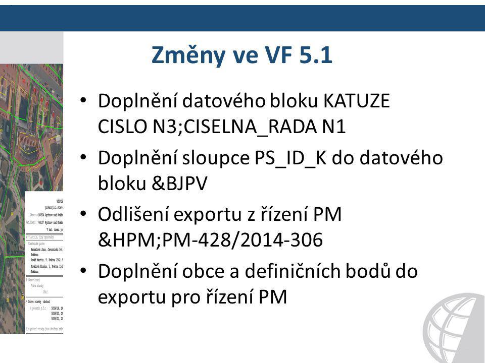 Změny ve VF 5.1 Doplnění datového bloku KATUZE CISLO N3;CISELNA_RADA N1 Doplnění sloupce PS_ID_K do datového bloku &BJPV Odlišení exportu z řízení PM