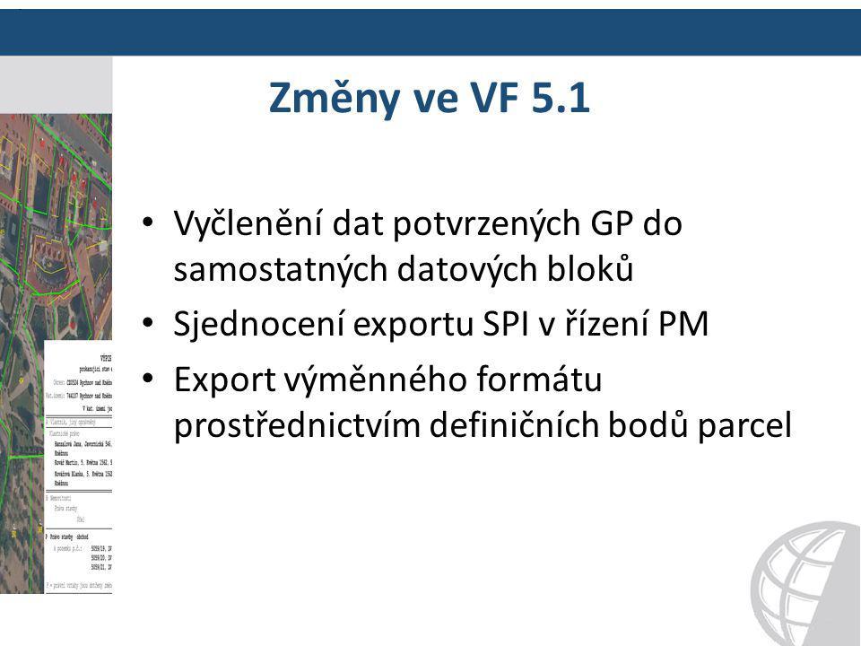 Změny ve VF 5.1 Vyčlenění dat potvrzených GP do samostatných datových bloků Sjednocení exportu SPI v řízení PM Export výměnného formátu prostřednictví