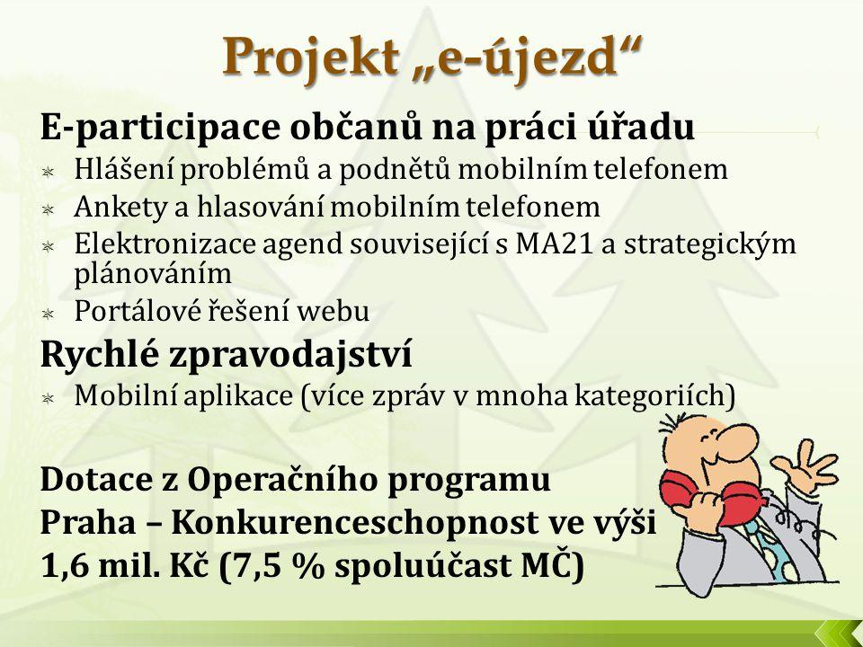 E-participace občanů na práci úřadu  Hlášení problémů a podnětů mobilním telefonem  Ankety a hlasování mobilním telefonem  Elektronizace agend souv