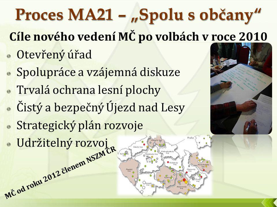 Cíle nového vedení MČ po volbách v roce 2010  Otevřený úřad  Spolupráce a vzájemná diskuze  Trvalá ochrana lesní plochy  Čistý a bezpečný Újezd na