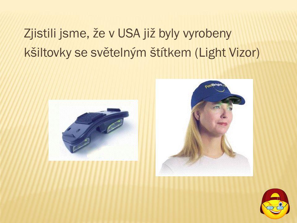 Zjistili jsme, že v USA již byly vyrobeny kšiltovky se světelným štítkem (Light Vizor)