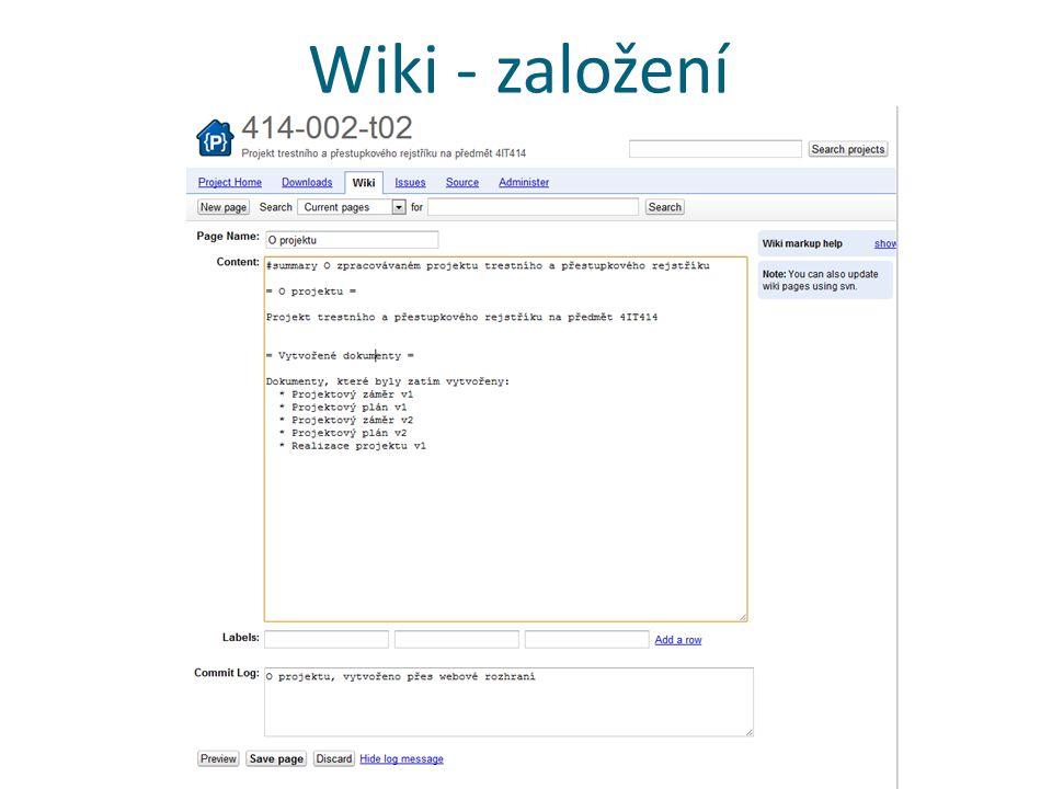 Wiki - založení