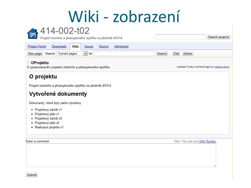 Wiki - zobrazení