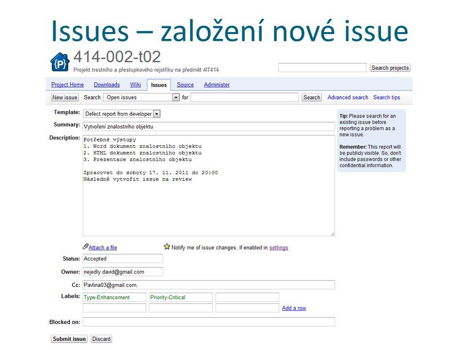 Issues – založení nové issue