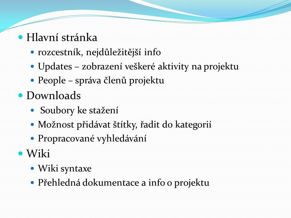 Hlavní stránka rozcestník, nejdůležitější info Updates – zobrazení veškeré aktivity na projektu People – správa členů projektu Downloads Soubory ke st