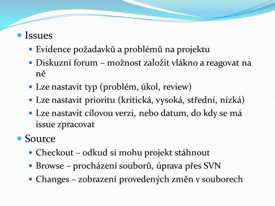 Issues Evidence požadavků a problémů na projektu Diskuzní forum – možnost založit vlákno a reagovat na ně Lze nastavit typ (problém, úkol, review) Lze