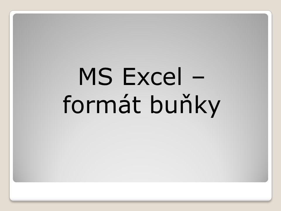 MS Excel – formát buňky
