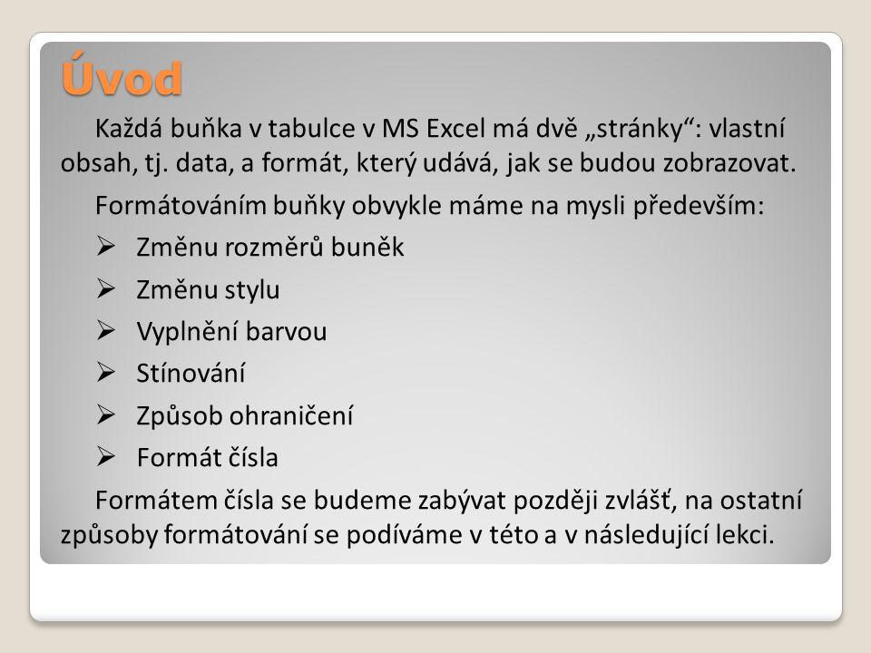 """Úvod Každá buňka v tabulce v MS Excel má dvě """"stránky : vlastní obsah, tj."""