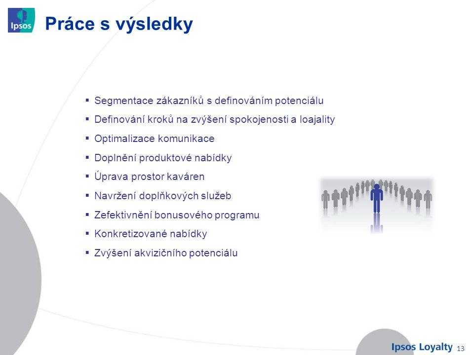 13 Práce s výsledky  Segmentace zákazníků s definováním potenciálu  Definování kroků na zvýšení spokojenosti a loajality  Optimalizace komunikace 