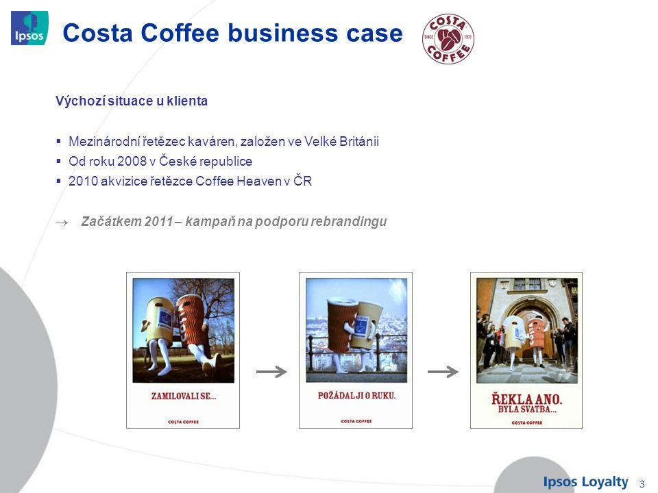 3 Costa Coffee business case Výchozí situace u klienta  Mezinárodní řetězec kaváren, založen ve Velké Británii  Od roku 2008 v České republice  201