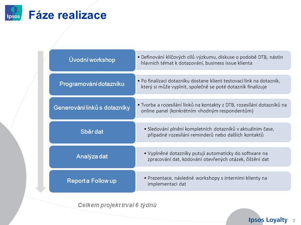 7 Fáze realizace Definování klíčových cílů výzkumu, diskuse o podobě DTB, nástin hlavních témat k dotazování, business issue klienta Úvodní workshop P