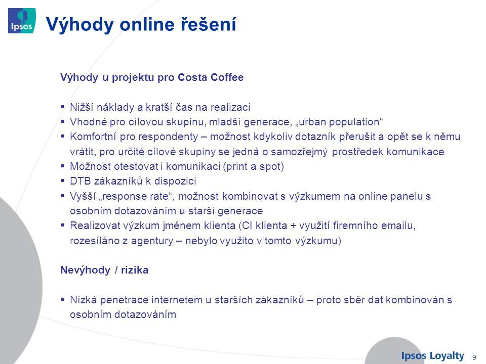 """9 Výhody online řešení Výhody u projektu pro Costa Coffee  Nižší náklady a kratší čas na realizaci  Vhodné pro cílovou skupinu, mladší generace, """"ur"""