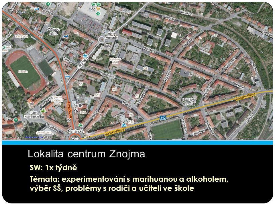 Lokalita centrum Znojma SW: 1x týdně Témata: experimentování s marihuanou a alkoholem, výběr SŠ, problémy s rodiči a učiteli ve škole