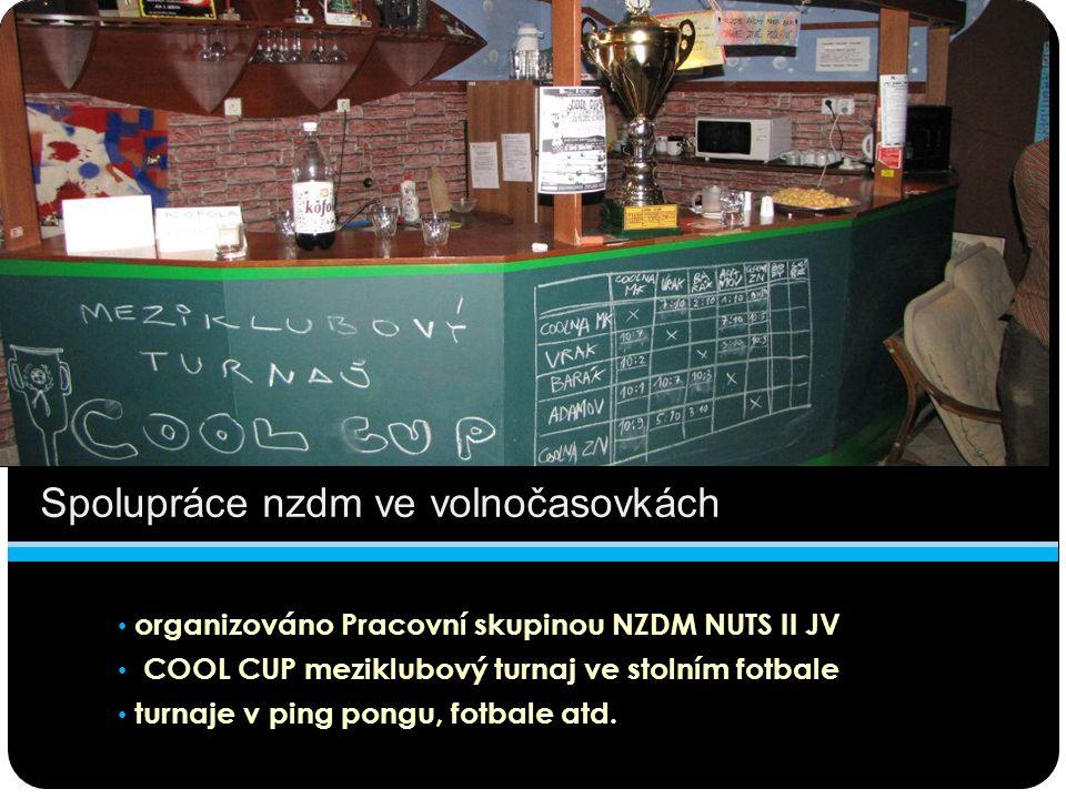 Spolupráce nzdm ve volnočasovkách organizováno Pracovní skupinou NZDM NUTS II JV COOL CUP meziklubový turnaj ve stolním fotbale turnaje v ping pongu,