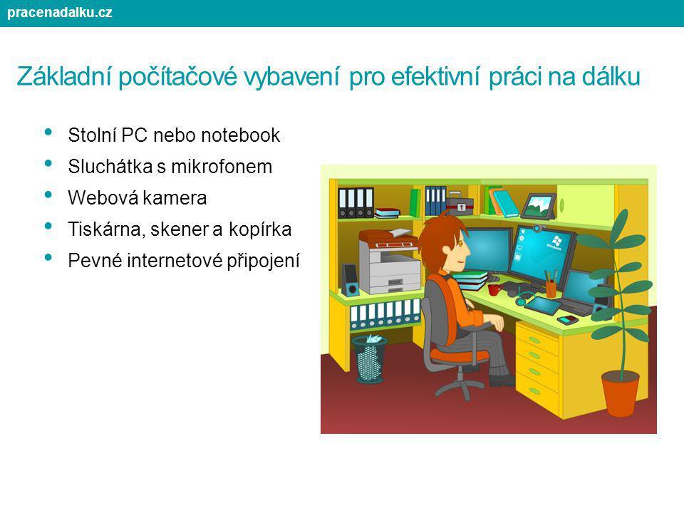 Základní počítačové vybavení pro efektivní práci na dálku Stolní PC nebo notebook Sluchátka s mikrofonem Webová kamera Tiskárna, skener a kopírka Pevn