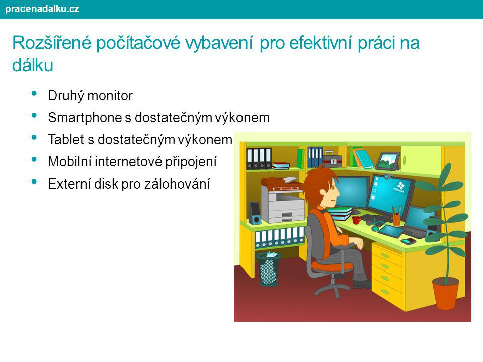 Rozšířené počítačové vybavení pro efektivní práci na dálku Druhý monitor Smartphone s dostatečným výkonem Tablet s dostatečným výkonem Mobilní interne