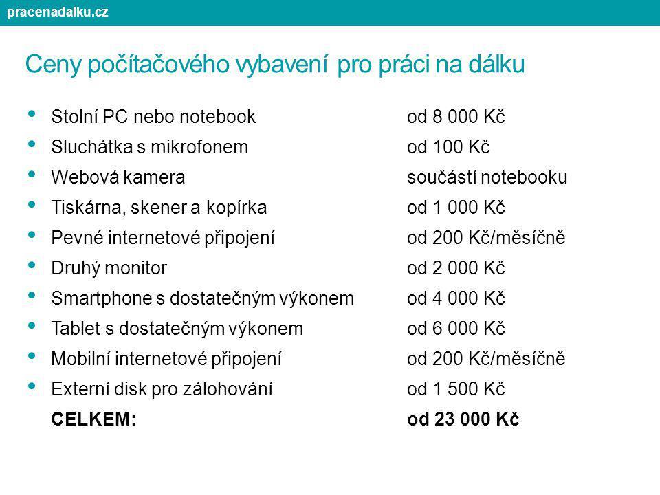 Ceny počítačového vybavení pro práci na dálku Stolní PC nebo notebookod 8 000 Kč Sluchátka s mikrofonemod 100 Kč Webová kamerasoučástí notebooku Tiská