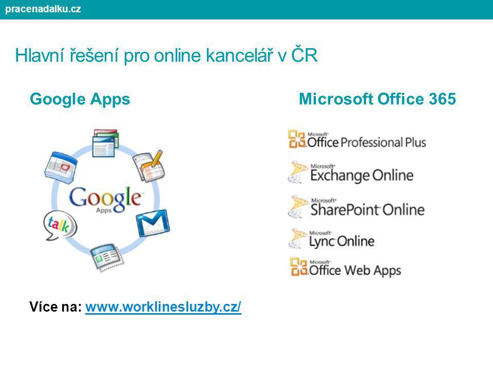 Hlavní řešení pro online kancelář v ČR Google Apps Microsoft Office 365 Více na: www.worklinesluzby.cz/ pracenadalku.cz