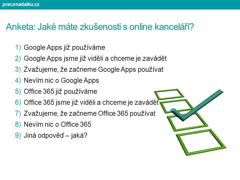 Anketa: Jaké máte zkušenosti s online kanceláří? 1)Google Apps již používáme 2)Google Apps jsme již viděli a chceme je zavádět 3)Zvažujeme, že začneme