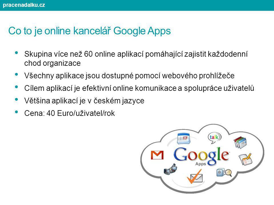 Co to je online kancelář Google Apps Skupina více než 60 online aplikací pomáhající zajistit každodenní chod organizace Všechny aplikace jsou dostupné