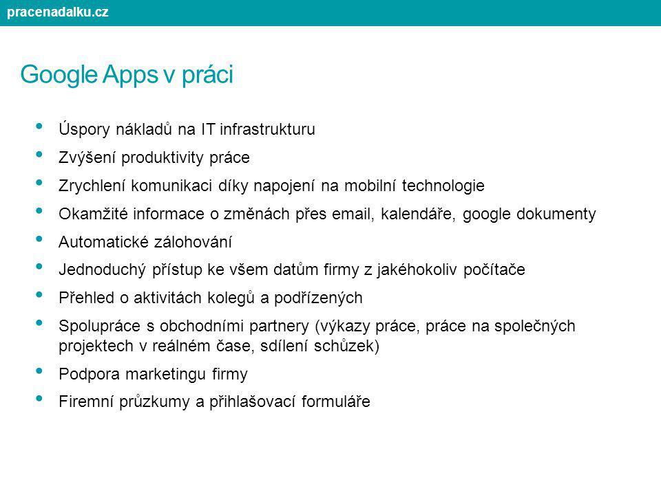 Google Apps v práci Úspory nákladů na IT infrastrukturu Zvýšení produktivity práce Zrychlení komunikaci díky napojení na mobilní technologie Okamžité