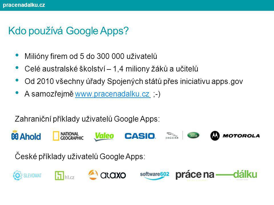 Kdo používá Google Apps? Milióny firem od 5 do 300 000 uživatelů Celé australské školství – 1,4 miliony žáků a učitelů Od 2010 všechny úřady Spojených