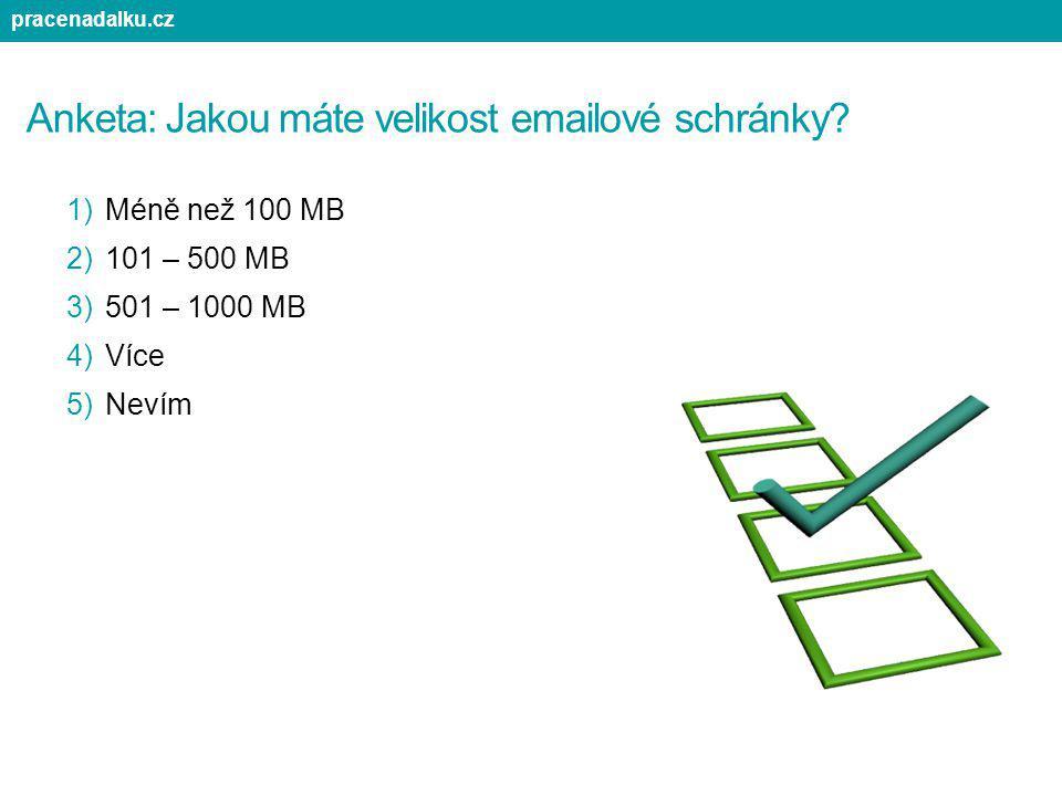 Anketa: Jakou máte velikost emailové schránky? 1)Méně než 100 MB 2)101 – 500 MB 3)501 – 1000 MB 4)Více 5)Nevím pracenadalku.cz
