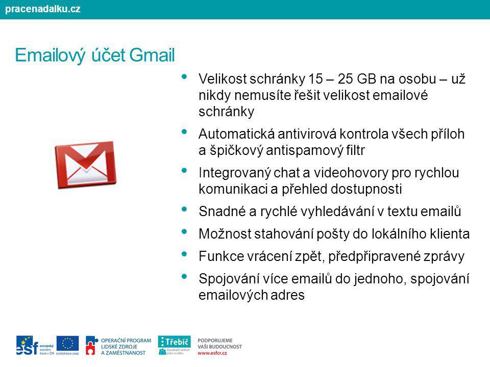 Emailový účet Gmail Velikost schránky 15 – 25 GB na osobu – už nikdy nemusíte řešit velikost emailové schránky Automatická antivirová kontrola všech p