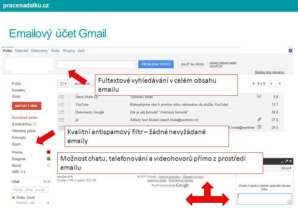 Emailový účet Gmail Možnost chatu, telefonování a videohovorů přímo z prostředí emailu Fultextové vyhledávání v celém obsahu emailu Kvalitní antispamo