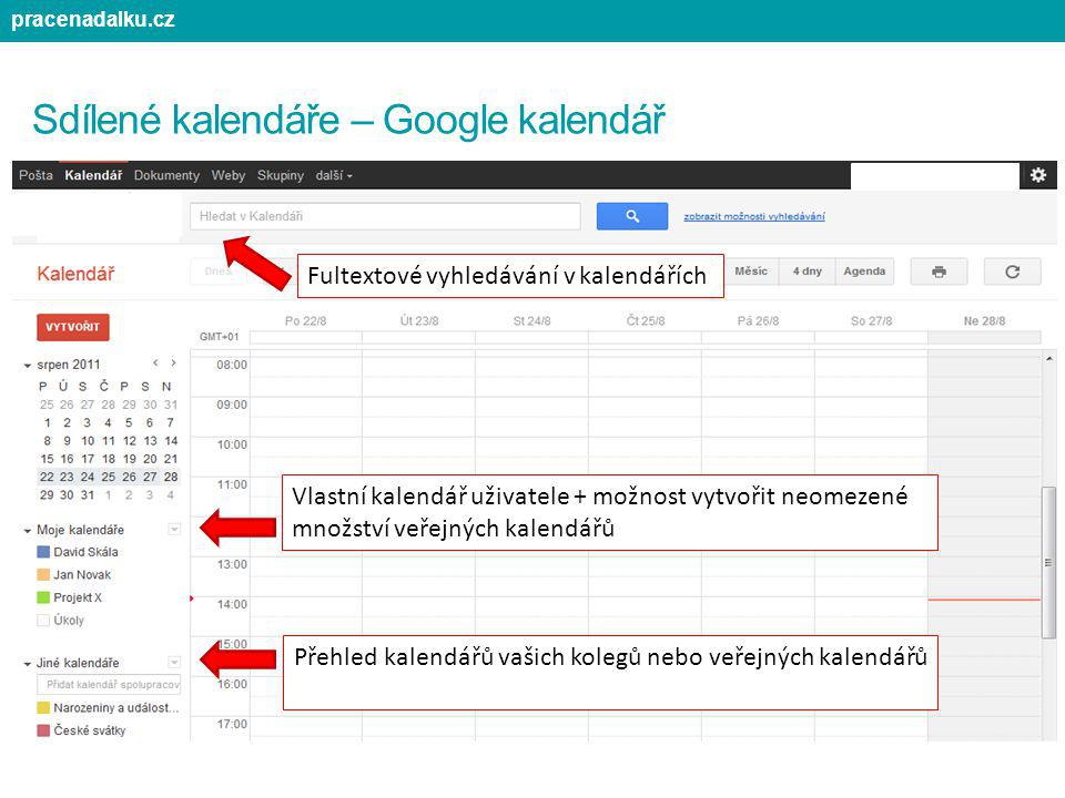 Sdílené kalendáře – Google kalendář Vlastní kalendář uživatele + možnost vytvořit neomezené množství veřejných kalendářů Přehled kalendářů vašich kole